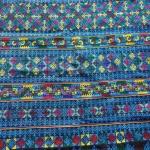 ผ้าปักลายกางเกง ปักละเอียดลายโบราณ+ประยุกต์ สีโทนน้ำเงินสดใส ผืนยาว