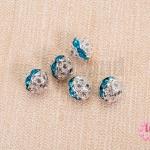 ตัวแต่งบอลเพชร ฝาครอบสีเงิน เพชรสีฟ้า 8 มิล (5ชิ้น)