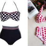 ชุดว่ายน้ำ Bikini เอวสูง วินเทจ