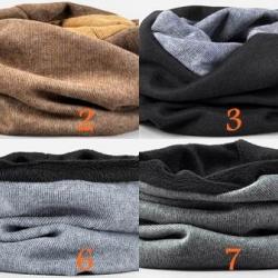 หมวกกันหนาว หมวกคลุม ผ้าพันคอ กำะหยี่ 2สี2ด้าน แบบบุขนใน และ ไมุ่ขน( 1 2 3 4 5 6 7 8)