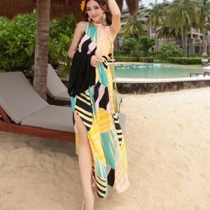 พร้อมส่ง Maxi dress ชุดเดรสยาว สีโทนเหลือง ลายทางตัดสีเก๋ไก๋ แขนกุด ผูกคอ เว้าด้านหลัง ผ่าด้านข้าง เซ็กซี่ๆ จั๊มช่วงเอว