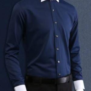 จองแถมหูกระต่าย!!เสื้อเชิ้ตแขนยาวทักซิโด สีน้ำเงิน แบบเรียบ ไม่มีจีบ size No.37- 43