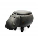 เก้าอี้เก็บของได้รูปฮิปโป สีเทาดำ