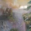 จิกซอว์รูปน้ำตกกับนกกระยาง
