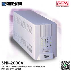 PCM Powercom UPS SMK Series 2000VA / 1200Watt Line Interactive with Stabilizer ( Pure Sine Wave Output ) SMK-2000A