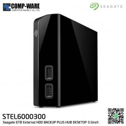"Seagate 6TB External HDD BACKUP PLUS HUB DESKTOP (BLACK) 3.5"" ประกัน 3ปี - STEL6000300"