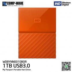 WD 1TB Orange My Passport Portable External Hard Drive - USB 3.0 - WDBYNN0010BOR-WESN