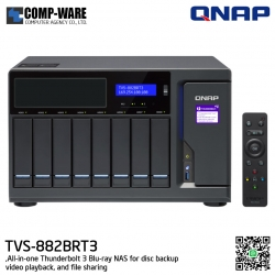 QNAP NAS (8-Bay) TVS-882BRT3 Core i7 (32GB RAM) All-in-one Thunderbolt 3 Blu-ray NAS for disc backup, video playback, and file sharing