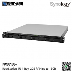 Synology RackStation (1U 4-Bay) RS818+ (2GB RAM) Single Power Supply - Rail kit (not included)