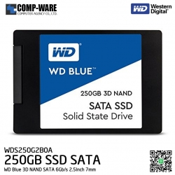 WD Blue 3D NAND 250GB PC SSD - SATA 6Gb/s 2.5Inch 7mm Solid State Drive - WDS250G2B0A