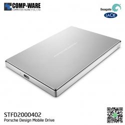 Seagate LaCie Porsche Design 2TB USB-C Mobile Hard Drive, Silver (STFD2000402)