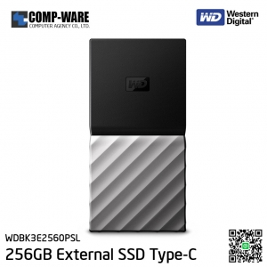 WD 256GB MY PASSPORT SSD Portable Storage - USB 3.1 (Type-C) - Black-Gray - WDBK3E2560PSL