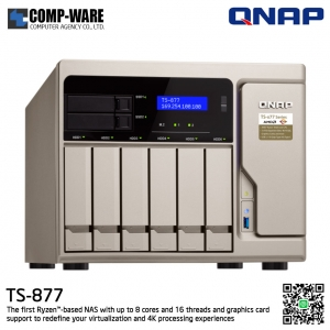 QNAP NAS 8-Bay (6+2) TS-877 (16GB DDR4 RAM) AMD Ryzen7 1700 8-Core