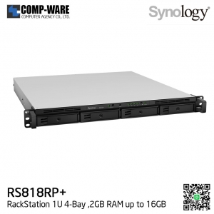 Synology RackStation (1U 4-Bay) RS818RP+ (2GB RAM) Redundant Power Supply