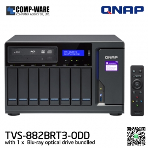 QNAP NAS (8-Bay) TVS-882BRT3 Core i5 (16GB RAM) All-in-one Thunderbolt 3 Blu-ray NAS for disc backup, video playback, and file sharing