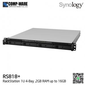 Synology RackStation (1U 4-Bay) RS818+ (2GB RAM) Single Power Supply