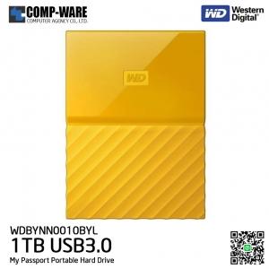 WD 1TB Yellow My Passport Portable External Hard Drive - USB 3.0 - WDBYNN0010BYL-WESN