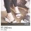 รองเท้าส้นเตารีด แบบสวม logo GG (FT-393-ขาว ขาว)