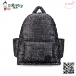 CiPU BACKPACK - BLACK TWEED-(Size L : W17 x L37x H43/ สายเป้ยาว 49-78cm)