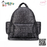 CiPU BACKPACK - BLACK TWEED-(Size M : W13 x L35x H37 cm. / สายเป้ยาว 42-74cm)