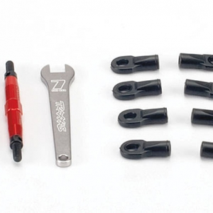 Toe links, Slayer (Tubes 7075-T6 aluminum, red) (74mm, fits front or rear) (2)/ rod ends, rear (4)/ rod ends, front (4)/ wrench (1)