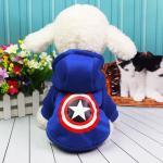 เสื้อฮูด น้องหมา น้องแมว ลายกับตันอเมริกา สีน้ำเงิน Size M
