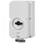 ปลั๊กตัวเมียแบบติดผนัง Receptacles switch DUO interlock IP67 125Amp ขั้ว 3P+E 400V