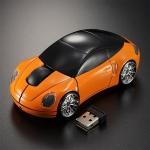 เม้าส์ไร้สายรูปรถยนต์สีส้ม