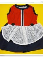 ชุดกระโปรงคอกลม น้องหมา น้องแมว เดรสแบบผ้ายืดสีแดง เบอร์ 6