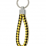 พวงกุญแจ(หนังเทียม)ห้อยกระเป๋า เกลียวสีเหลืองดำ 12อัน