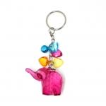 พวงกุญแจคริสตัล ช้าง(สีชมพูอมม่วง) 12อัน