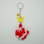 พวงกุญแจปอมปอมขนาดเล็ก สีแดงคาดขาว 12อัน