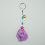พวงกุญแจปอมปอมขนาดเล็ก สีม่วงล้วน 12อัน
