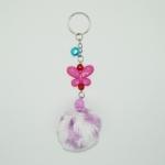 พวงกุญแจปอมปอมขนาดเล็ก สีม่วงคาดขาว 12อัน