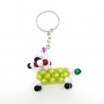 พวงกุญแจลูกปัด หมาน้อย(สีเขียวลายขาว) 12อัน