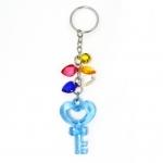พวงกุญแจคริสตัล กุญแจหัวใจ(สีฟ้า) 12อัน