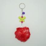 พวงกุญแจปอมปอมขนาดเล็ก สีแดงล้วน 12อัน