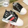 รองเท้าเด็กอ่อน รองเท้าเด็กหัดเดิน สีดำ หนังเทียม - Black star 204