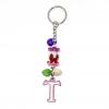 พวงกุญแจตัวอักษร Tสีชมพูอมม่วง(แบบเล็ก) 12อัน