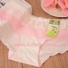 กางเกงในขอบระบาย สีขาวชมพูอ่อน
