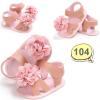 รองเท้าเด็กอ่อน รองเท้าเด็กหัดเดิน สีชมพู รัดส้น ประดับดอกไม้ - Pink flowers 104
