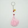 พวงกุญแจปอมปอมขนาดเล็ก สีชมพูคาดขาว 12อัน