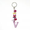 พวงกุญแจตัวอักษร Vสีชมพูอมม่วง(แบบเล็ก) 12อัน