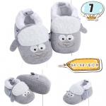 รองเท้าเด็กอ่อน ลายแกะ ขนฟู สีเทา - Grey cotton sheep