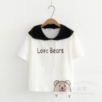 เสื้อยืดแขนสั้นมีฮู๊ดลายน้องหมีน่ารักๆ แบบสวยค่ะ code : a0038