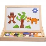 ของเล่นไม้ กระดานแม่เหล็กต่อภาพ 2 หน้า Animal Magnetic Puzzle