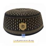 CHAREEF B-012 หมวกกะปิเยาะห์ สีดำลายสีทอง