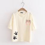 พร้อมส่ง เสื้อยืดแขนสั้นแต่งลายแมว สีสันน่ารักสดใส