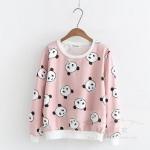 พร้อมส่ง เสื้อยืดแขนยาวลายหมีแพนด้า เนื้อผ้าดีใส่สบาย แบบน่ารักๆค่ะ code : a0039