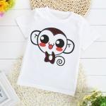 เสื้อยืดแขนสั้นเด็กเล็ก ผ้านิ่ม ใส่สบาย สกรีนลายลิง สำหรับเด็กวัย 1-4 ปี